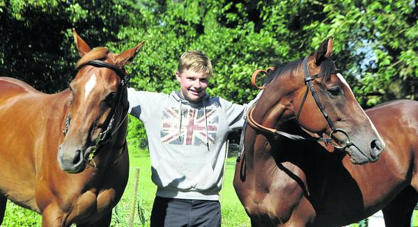 Sam Burton, with his ponies (l-r) Just Cruzin and Just Jack will ride for his country in Ireland next month Picture by Siobhan Boyle (SMB019-6)
