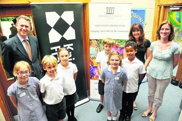 Burbage pupils with, from left, Rob Wrightman and Debbie Howard of Knight Frank and Laura Ingram Hill
