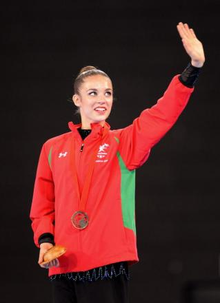 Laura Halford clebrates with her bronze medal in Glasgow today