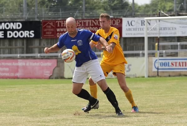 Goalscorer Alan Griffin's battles for the ball during Chippenham Town 1-0 friendly win over Oxford City on Saturday