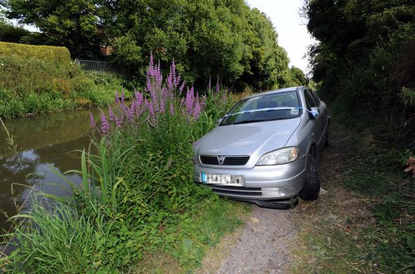 The car on the Kennet and Avon Canal towpath today. Picture by Paul Morris