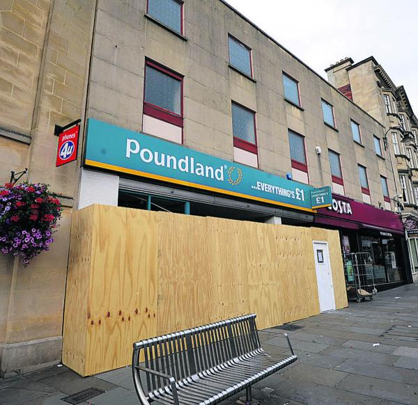 The Poundland store in Chippenham is boarded off