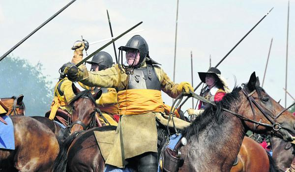 Soldiers and their support corps recreate the English Civil War Battle of Marlboroug