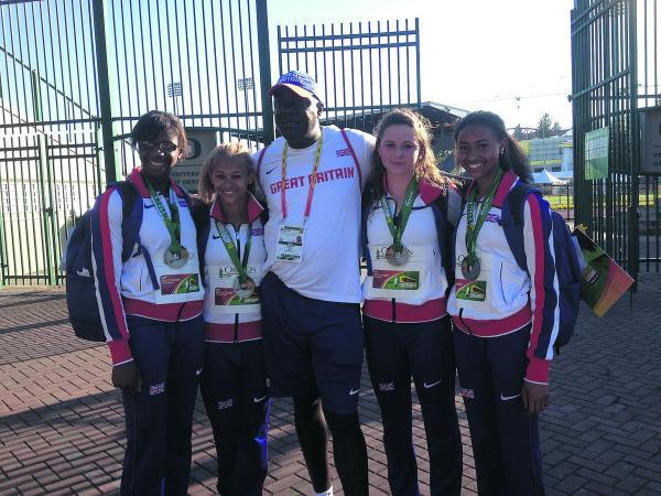 Loren Bleaken, second from the left, with her silver medal winning teammates