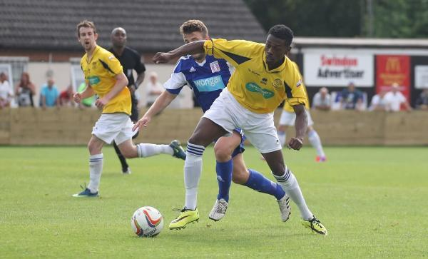 Omar Simpson, pictured in pre-season action against Swindon Supermarine