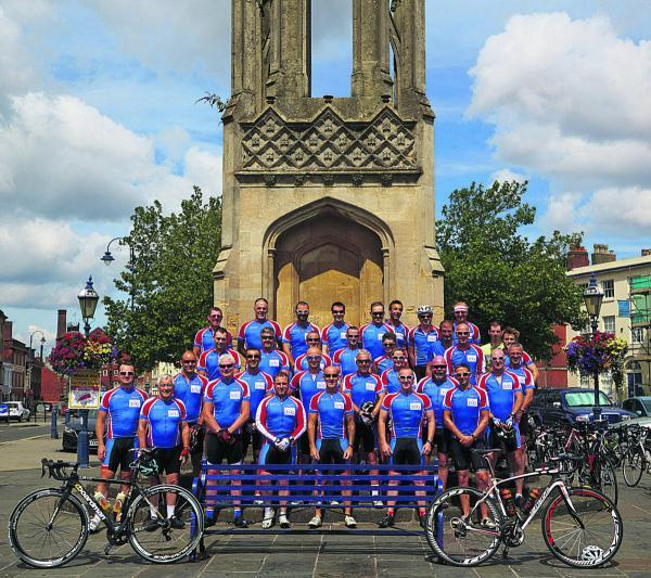Devizes Town Cycling Club in a group photograph taken at the Ruth Pierce memorial