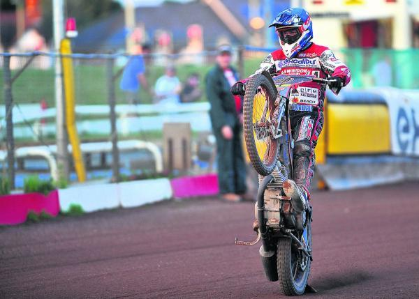 Nick Morris takes the acclaim after helping Swindon to a 5-1 in heat eight last night