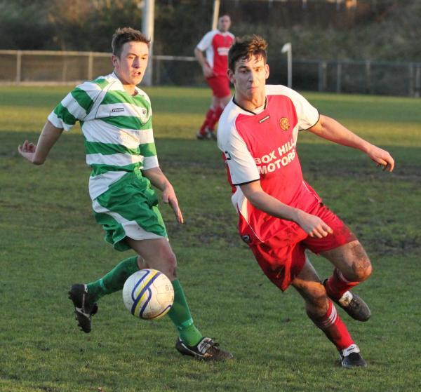 Nick Holton (right) scored in Corsham Town's opening day win at Oldland Abbotonians