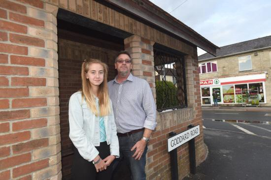Andrew Mundy and his 13-year-old daughter Freya. She was stranded when the driver of a bus she was travelling on turfed off his passengers because he had gone over his hours. Picture by Diane Vose