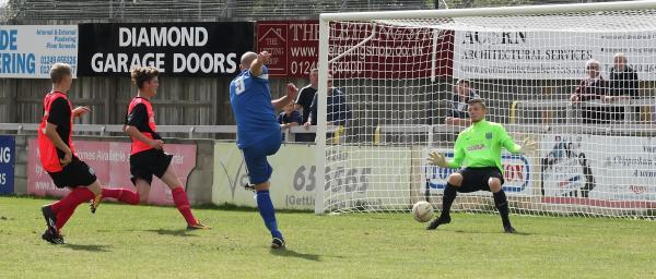 Alan Griffin fires home Chippenham Town's second on Saturday (Picture by Robin Foster)