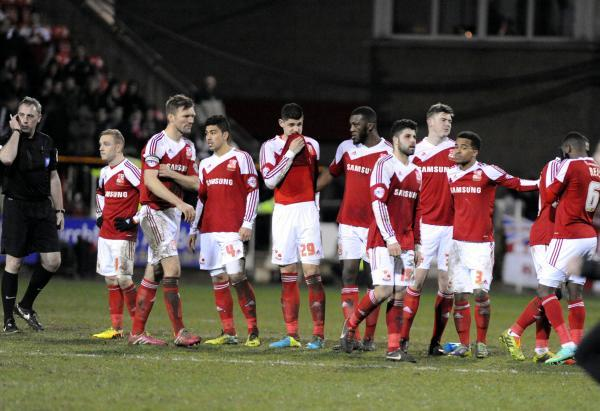 Town's players in dismay after their penalty shootout defeat to Peterborough in last year's Johnstone's Paint Trophy