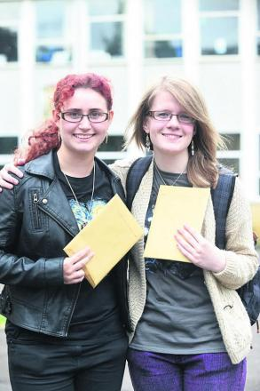 Emma Simonsen and fellow student Rebecca Daniels after receiving their A-level results. Picture by Diane Vose
