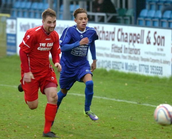 Ryan Campbell (right) got the winning goal in Chippenham Park's 6-5 win at Dorchester Town last night