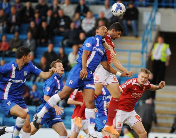 Raphael Branco heads for goal against Gillingham