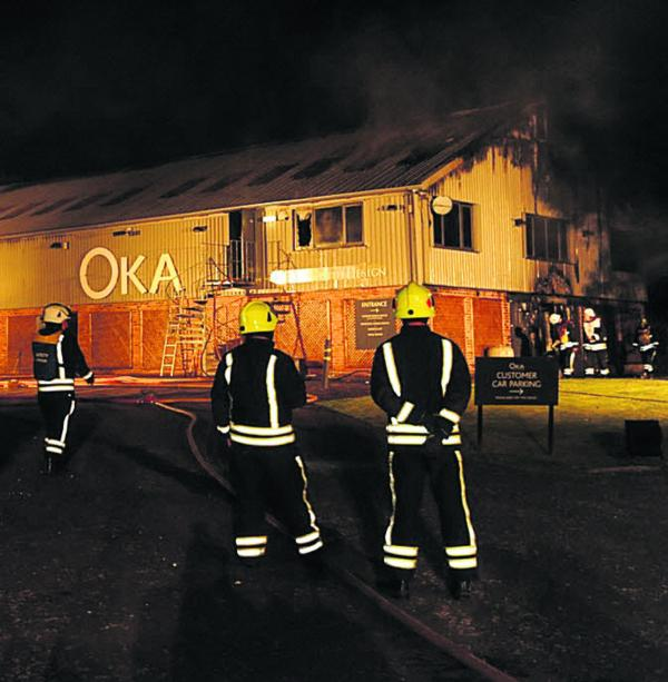 Pall of smoke hangs over Froxfield as furniture warehouse burns
