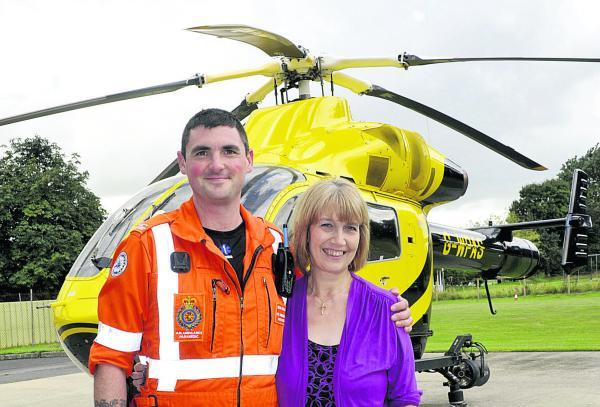 Air ambulance paramedic Ross Culligan and Sherston resident Ann Neal