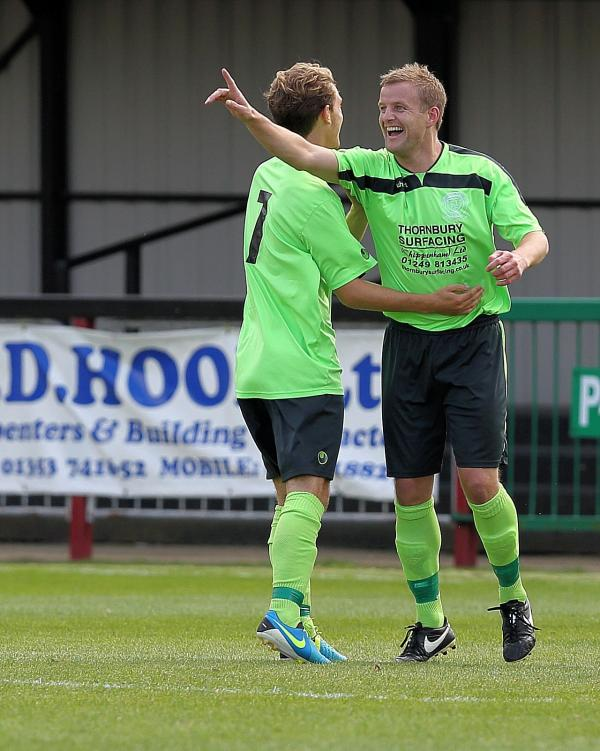 Darren Edwards celebrates a goal on his debut as Chippenham Town won 3-1 at Histon yesterday (Picture: Chippenham Town FC)