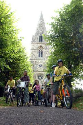 An previous Ride+Stride event in aid of Wiltshire churches