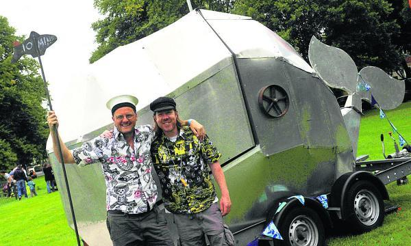 From left are Jake Oldershaw and Greg Morss with their whale cinema for families to step inside