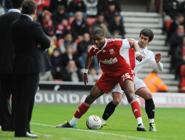 Jonathan Obika is his last spell at Swindon against Southampton