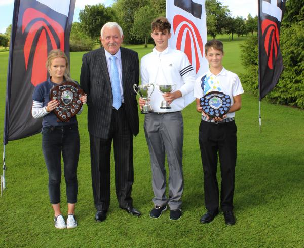 Hills Group chairman Alan Pardoe with Alexandra Feltham, left, Max Drayton and Connor Askey