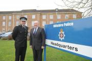 Patrick Geenty and Angus Macpherson outside Wiltshire Police HQ