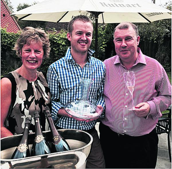 The Harrow co-owner Sue Jones, head chef John Brown and Stephen McGraw, managing director of Riedel