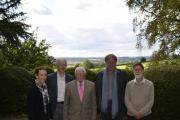 Near Westbury White Horse are: Cate Le Grice Mack, of White Horse Alliance; Chris Gillham, of A36/A350 Corridor Alliance; George McDonic, chair of CPRE Wiltshire; Sir Andrew Motion; and Colin Little, CPRE Wiltshire member