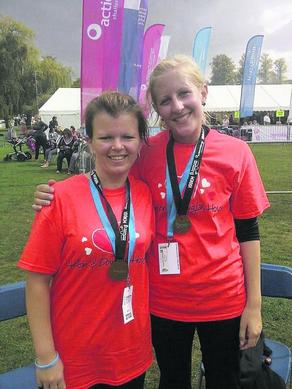 Lisa Preuss, left, and Trisha page, who walked the 100km Thames Path Challenge in memory of Shaniqwa Gooden, above left