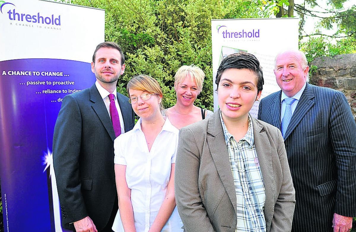 Pictured at Millane House, left to right, are Peter Singleton, D of E, Georgia Randall, Donna Harris, Threshold, Declan Veitch, and Police and Crime Commissioner Angus Macpherson. Picture: DAVE COX