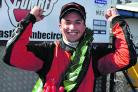 Adam Higgins celebrates his Formula Ford title triumph