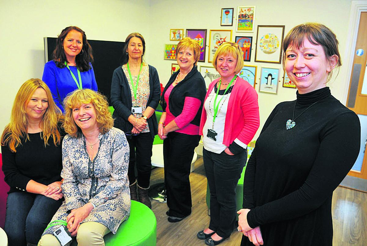 Caroline Morgan, Carla Jacques, Jeannette Chipping, Irene Davis, Geraldine O'Driscoll, Donna Oakes and Anouska Inns at the opening of the NSPCC service centre in Old Town