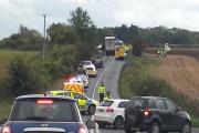 The accident scene on the A429 near Kemble Business Park yesterday.