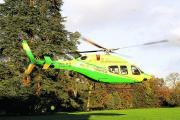 The new Wiltshire Air Ambulance lands at Trafalgar Park, Salisbury, today. Picture by Paul Morris