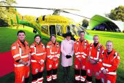 Sarah Rose Troughton, Lord Lieutenant of Wiltshire, with the air ambulance paramedic team at the official unveiling of the new helicopter yesterday. Picture by Paul Morris