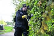 Wiltshire Police search bushes and undergrowth along the Caen Hill Locks                                By Diane Vose