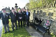 Stan Andrews, RBL chairman David Packwood, Coun Charles Fuller, Ruth Hopkinson, Peter Collier,  John Stacey and Stephen Neale with a new bench (DV1752)
