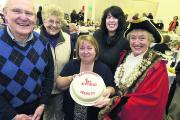 From left, Roger Budgen, chair of Malmesbury Town Hall facilities, regular visitor Maureen Lovett, organiser Julie Exton, stallholder Chris Waldron and Malmesbury mayor Sue Poole	 	(DV1788) By Diane Vose