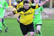 Melksham Town Reserves' Dave Macey on the ball during his side's win at Westbury United Reserves o