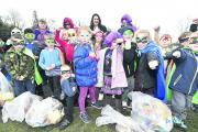 Southbroom St James Academy pupils dressed on their litter pick. From left, back row, Anita Roberts, Rachel Merritt, Devizes Mayor Sarah Bridewell and Heidi Boother