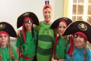 Caroline Newman as The Hungry Caterpillar with Crockerton School pupils