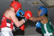 Emeralds' Alex Davies (green) in action on the club show against Southampton ABC's Connor O'Hara (Picture by Paul Mazzotta)