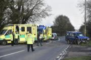 The crash scene on the A420 yesterday