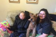 Harmony James with Karen Hobson and Irish Terrier Roisin