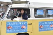 Claire Perry, the Conservative candidate for Devizes, in her battle bus VW camper van