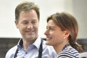 Lib Dem Leader Nick Clegg tries his hand making apple and blackberry crumble during his visit to Ivy Lane Primary School, Chippenham, with his wife Miriam Gonzalez and Chippenham Lib Dem candidate Duncan Hames. Picture by Diane Vose