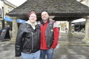 Jody Chadbourne  and Jason Cross at the Buttercross in Chippenham will be getting married during the Ride for Respect motorbike weekend. By Diane Vose DV2107/03