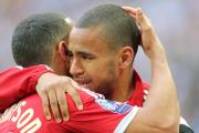 A tearful Nathan Thompson embraces brother Louis after the final whistle today