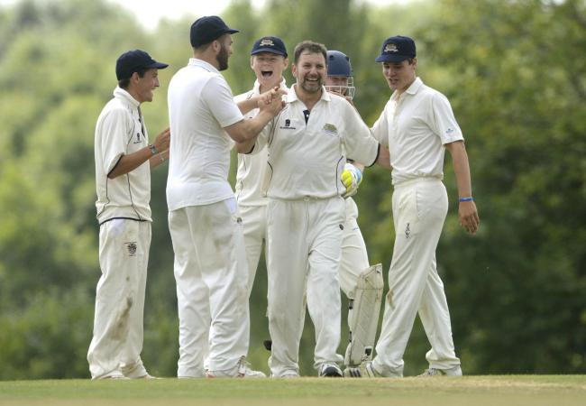 Malmesbury celebrate taking a wicket against Purton