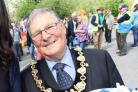 Mayor Howard Marshall at the Calne Duck Race earlier this year with Georgia Delaney (Miss Wiltshire GB). Pic by Vicky Scipio VS853